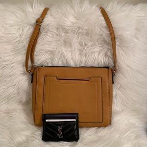 Tan Faux Leather Crossbody Bag